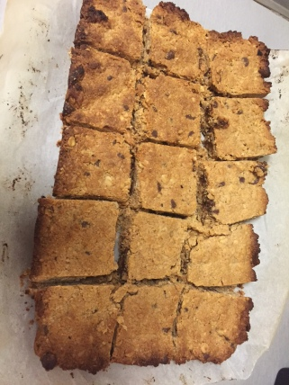 Cut up into squares - very crumbly!